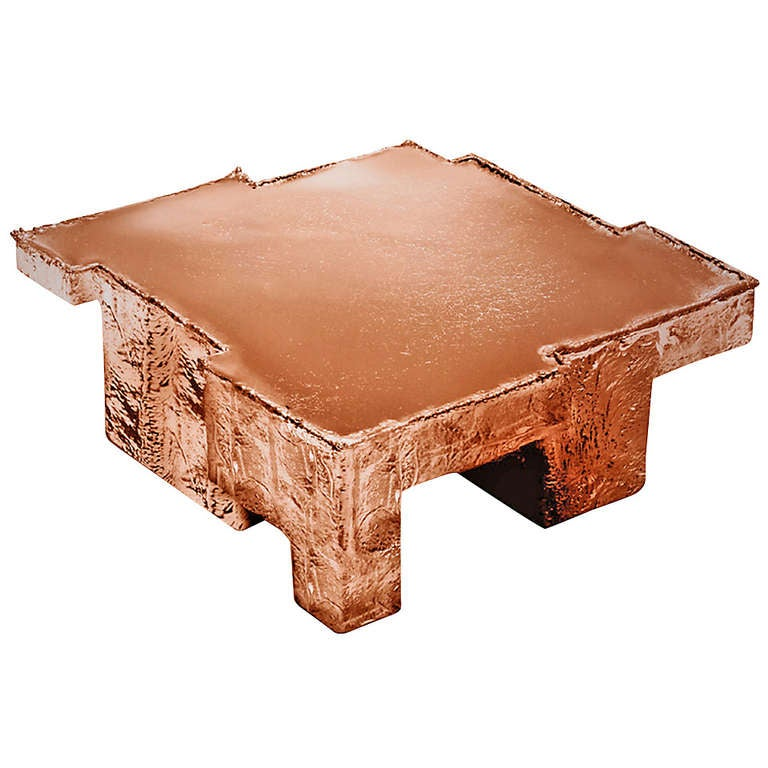 Nucleo 39copper fossil table39 medium for sale at 1stdibs for Fossil coffee table