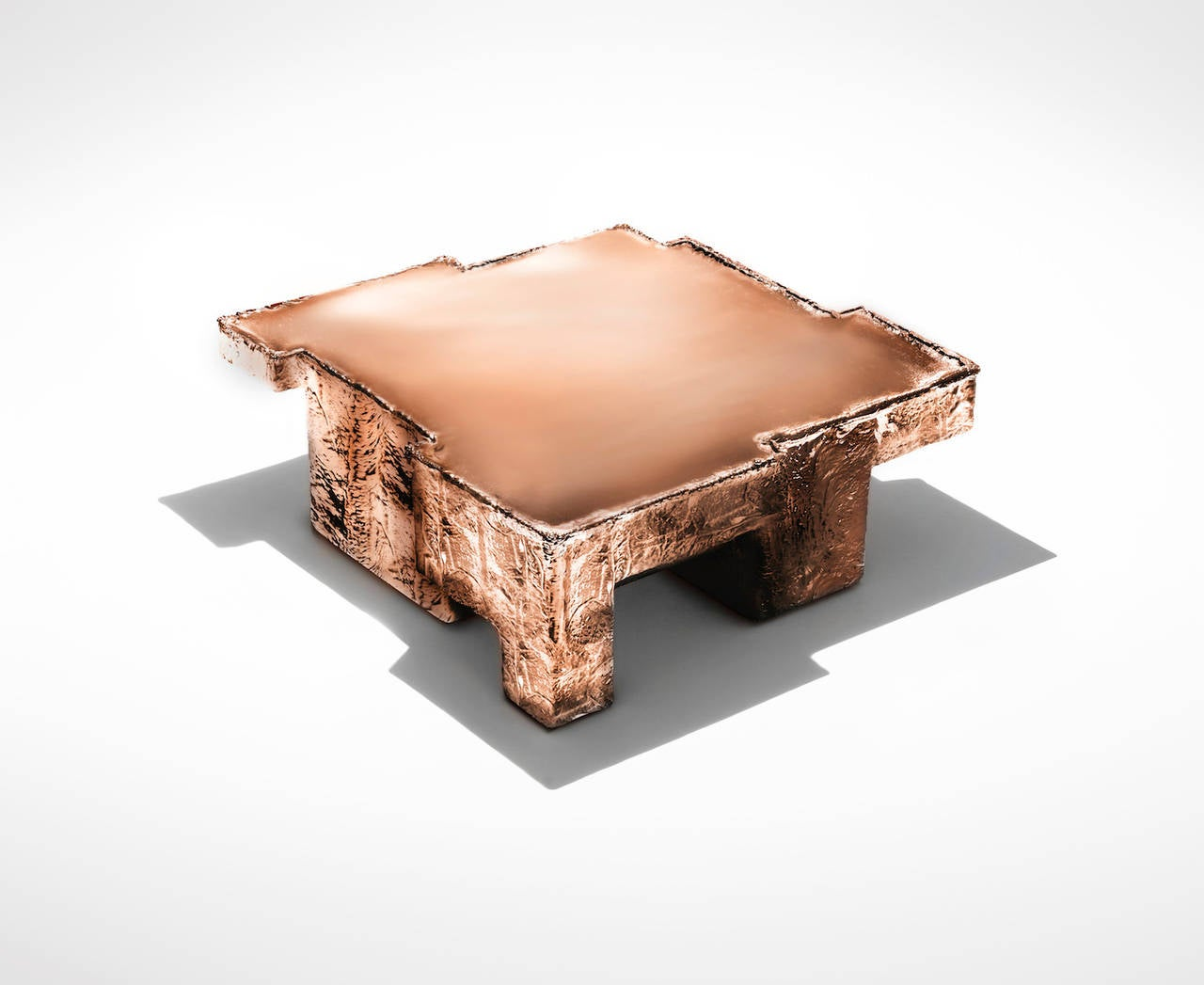 Metal fossil copper coffee table at 1stdibs for Fossil coffee table