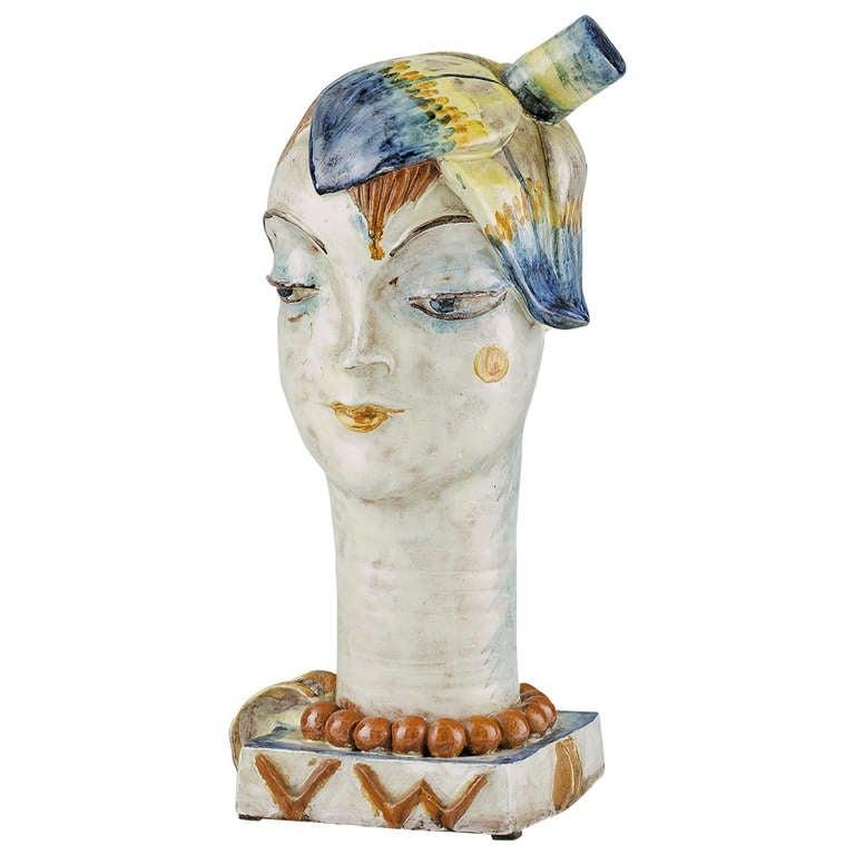 Wiener Werkst 228 Tte Sculpture Quot Head With Flower Quot By Vally