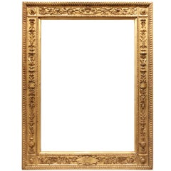 19th-century Italian Grand Tour Gilded Carved Wood Frame.