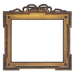 19th-century French Frame; Gilded Applied Ornament on Wood.