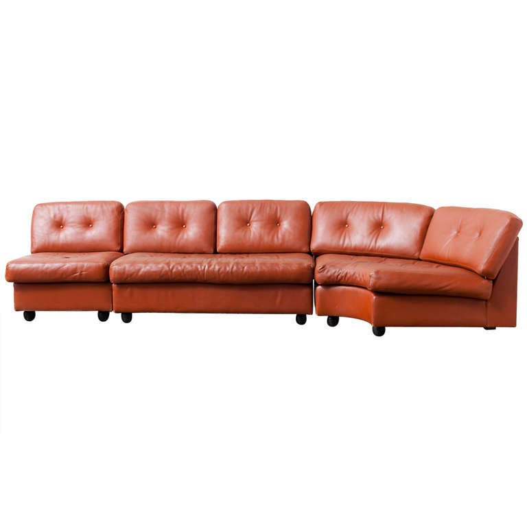 Artifort Three Section Cognac Leather Sofa 1