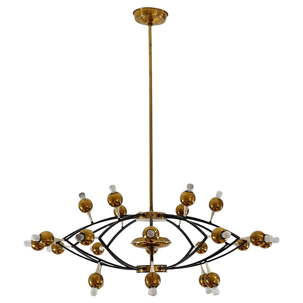 Huge Exceptional Chandelier by Stilnovo, Italy, circa 1950