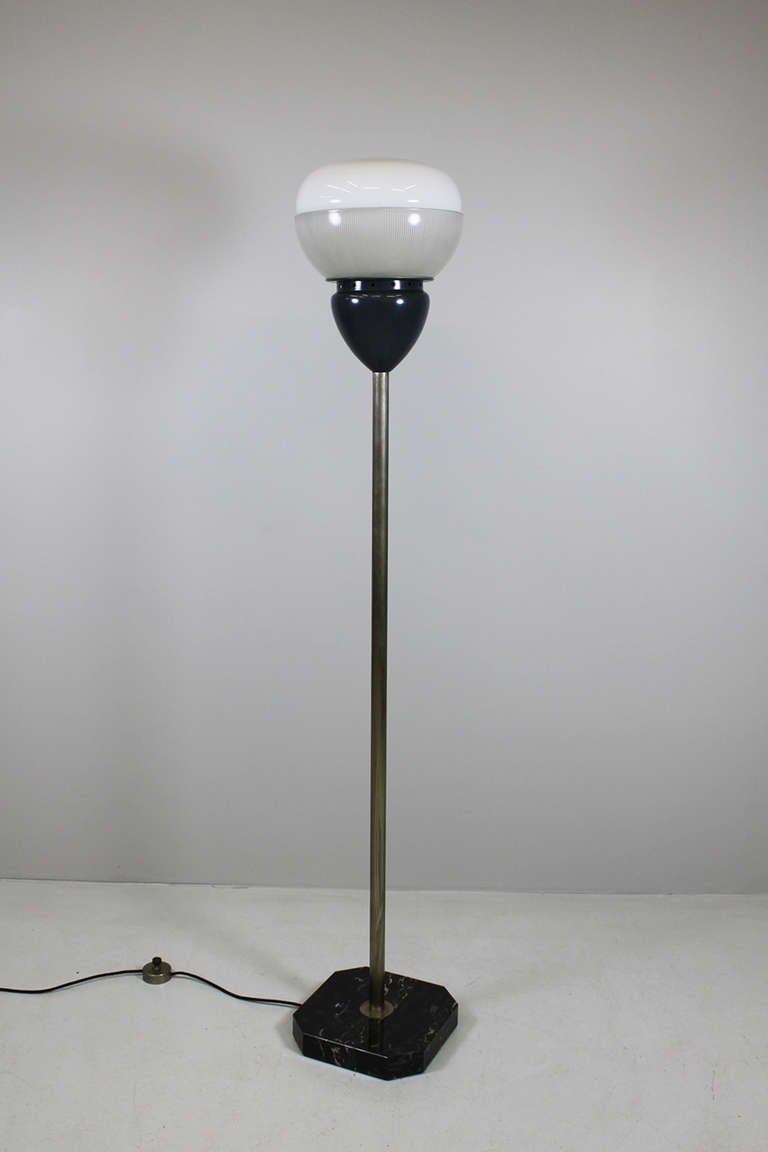 Floor Lamp by Sergio Mazza, Artemide Italy 1960  elements of glass and metal, painted black stick brass, foot marble