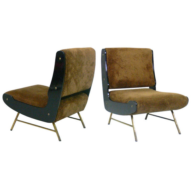 A pair of gianfranco frattini lounge chairs cassina 1955 for Cassina spa meda