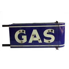 1930's American Double Sided Porcelain Sign GAS