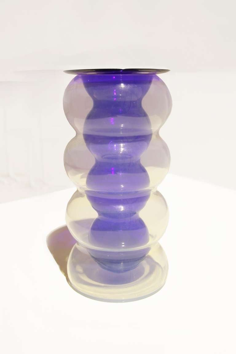 Vase by Carlo Nason, Mazzega Italy, 1964  vase consisting of two glass bodies, lucid opaline glass & blue inner part