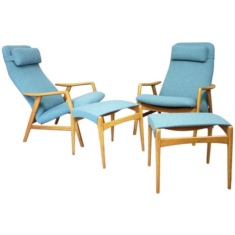 Pair of armchairs by Alf Svensson, Fritz Hansen Denmark, ca. 1962