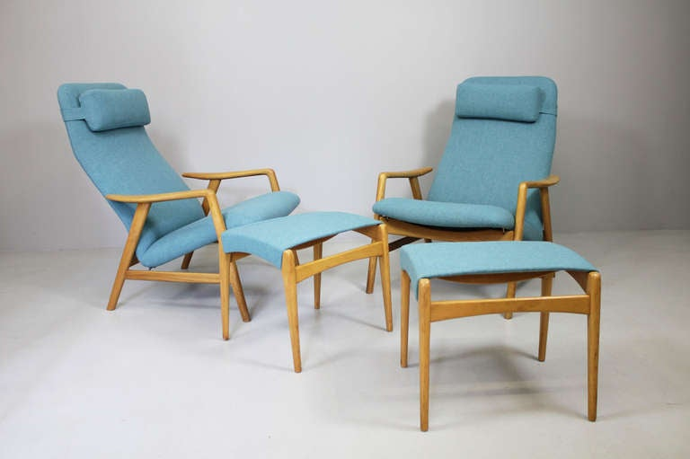 Pair of armchairs by Alf Svensson, Fritz Hansen Denmark, ca. 1962 2 armchairs with 2 stools