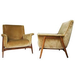 Pair of Armchairs in the Style of Gianfranco Frattini, Italy, circa 1958