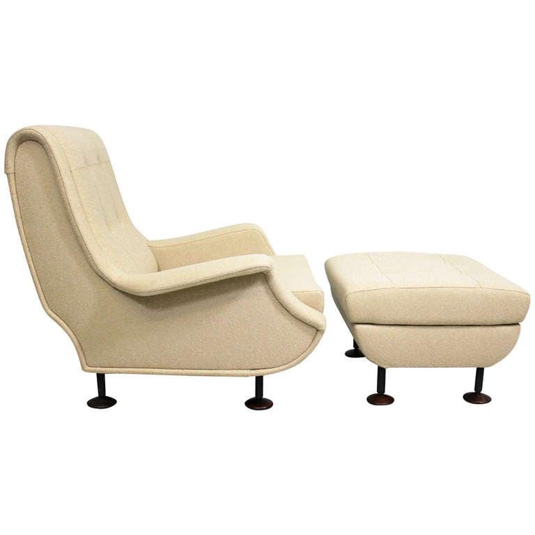 """Armchair with stool, model """"Regent"""" by Marco Zanuso, Arflex Italy, 1960"""