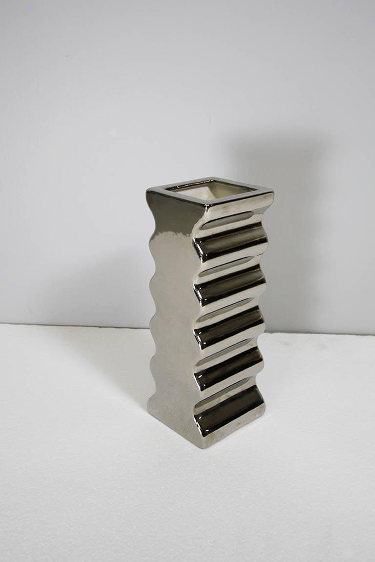 "Vase model ""629"" by Ettore Sottsass, Societá Ceramica Toscana, Italy Yantral series silver glaze"