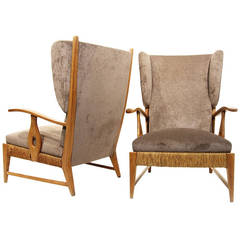 Pair of High Back Armchairs by Paolo Buffa, Italy, circa 1948