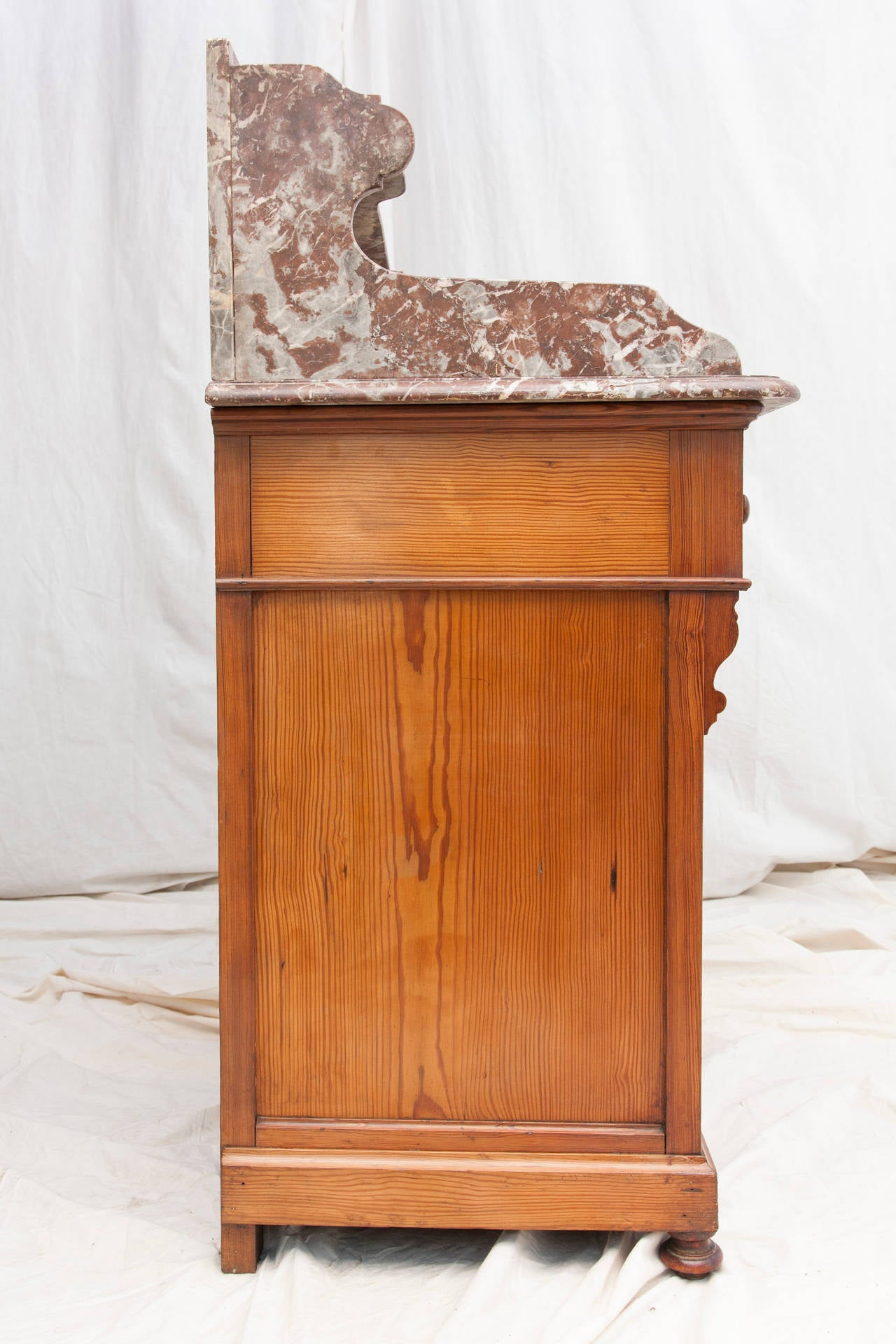 Antique French Vanity Cabinet with Marble Top and Porcelain Swivel Sink 3 - Antique French Vanity Cabinet With Marble Top And Porcelain Swivel