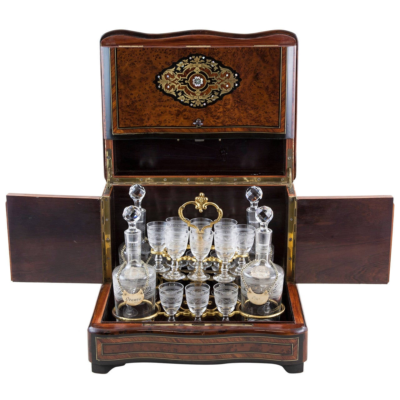 Napoleon III Marquetry Cave à Liqueurs or Tantalus at 1stdibs