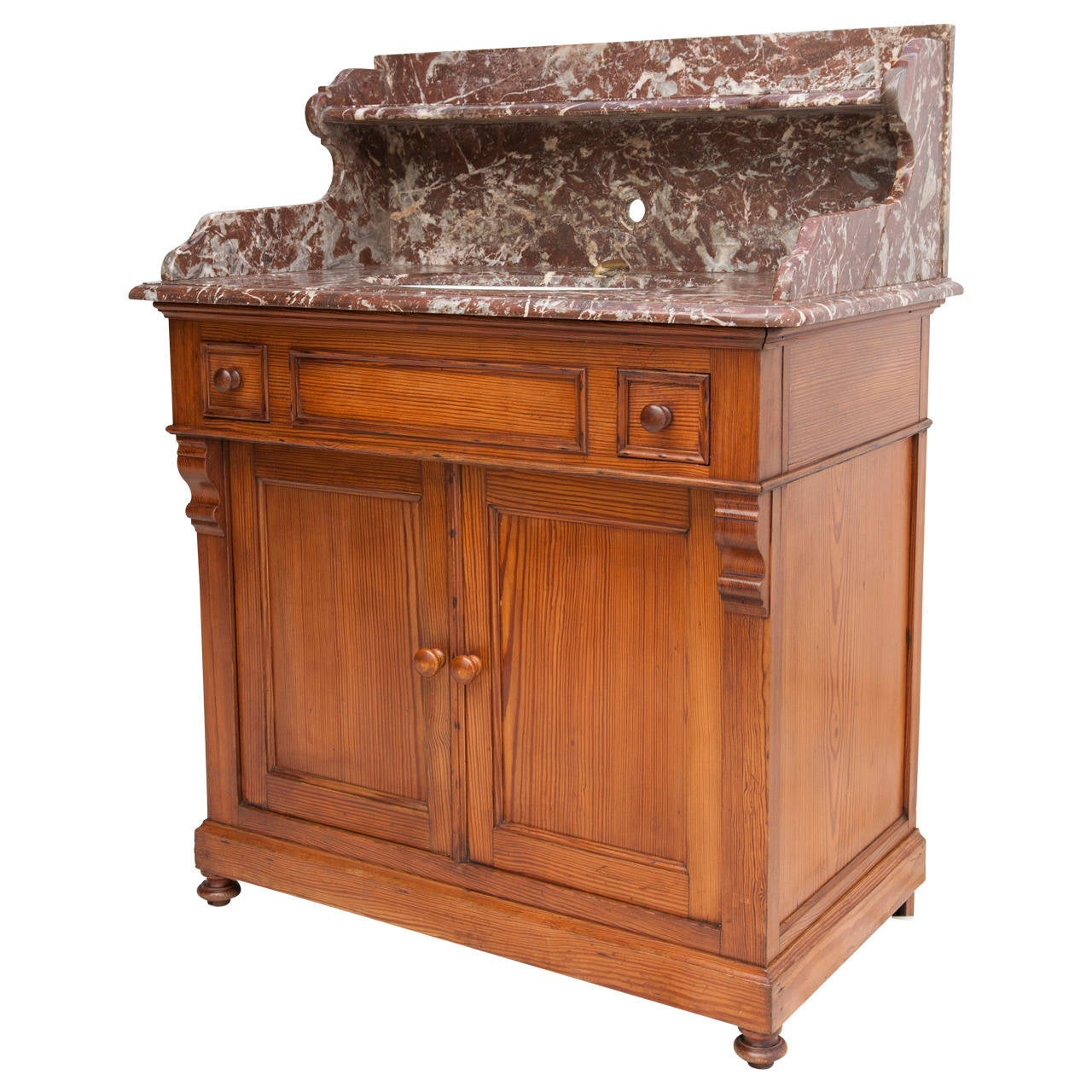 antique french vanity cabinet with marble top and porcelain swivel