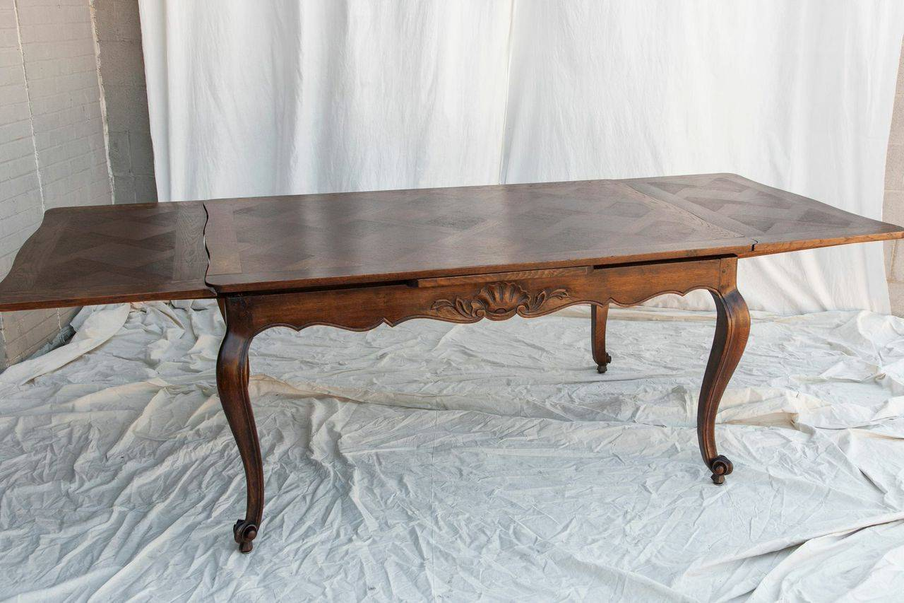 antique french dining table Antique French Louis XV Style Draw Leaf Dining Table with Parquet  antique french dining table