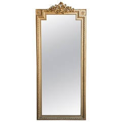 French metro antiques floor mirrors and full length for Tall gold mirror
