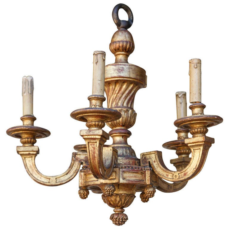 Gilt hand carved five arm wooden chandelier at 1stdibs for Wood pendant chandelier