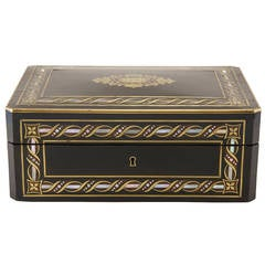 French Napoleon III Ebonized Marquetry Mother-of-Pearl and Bronze Box