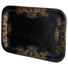 Napoleon III Black Tole Tray with Hand-Painted Gold Detailing, circa 1870