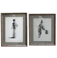 Haute Couture Original Ink and Graphite Drawings by Henri Tranié, c. 1925