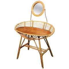 Striking Bentwood Art Deco Bamboo Table de Toilette or Vanity with Mirror