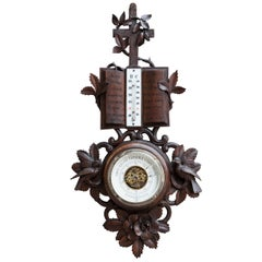 French Hand-Carved Black Forest Barometer with Thermometer