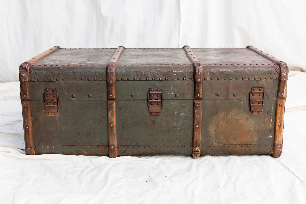 Riveted Metal Traveling Trunk with Wooden Runners 6