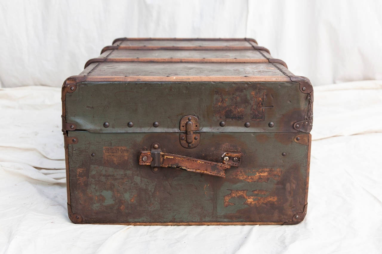 Riveted Metal Traveling Trunk with Wooden Runners 3
