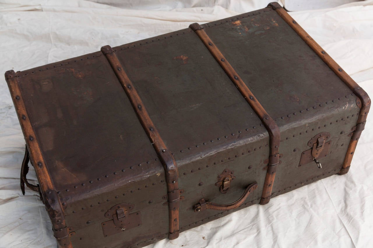 Riveted Metal Traveling Trunk with Wooden Runners 4