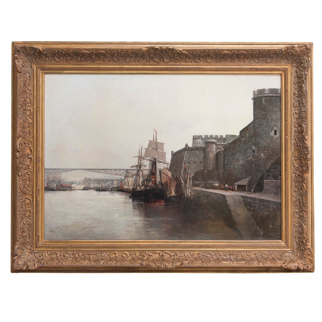 Large-Scale Oil on Linen Ship Scene of the Port of Brest, Signed, circa 1910
