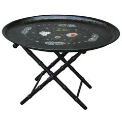 French Napoleon III Period Black Lacquer Tole and Mother-of-Pearl Tray Table