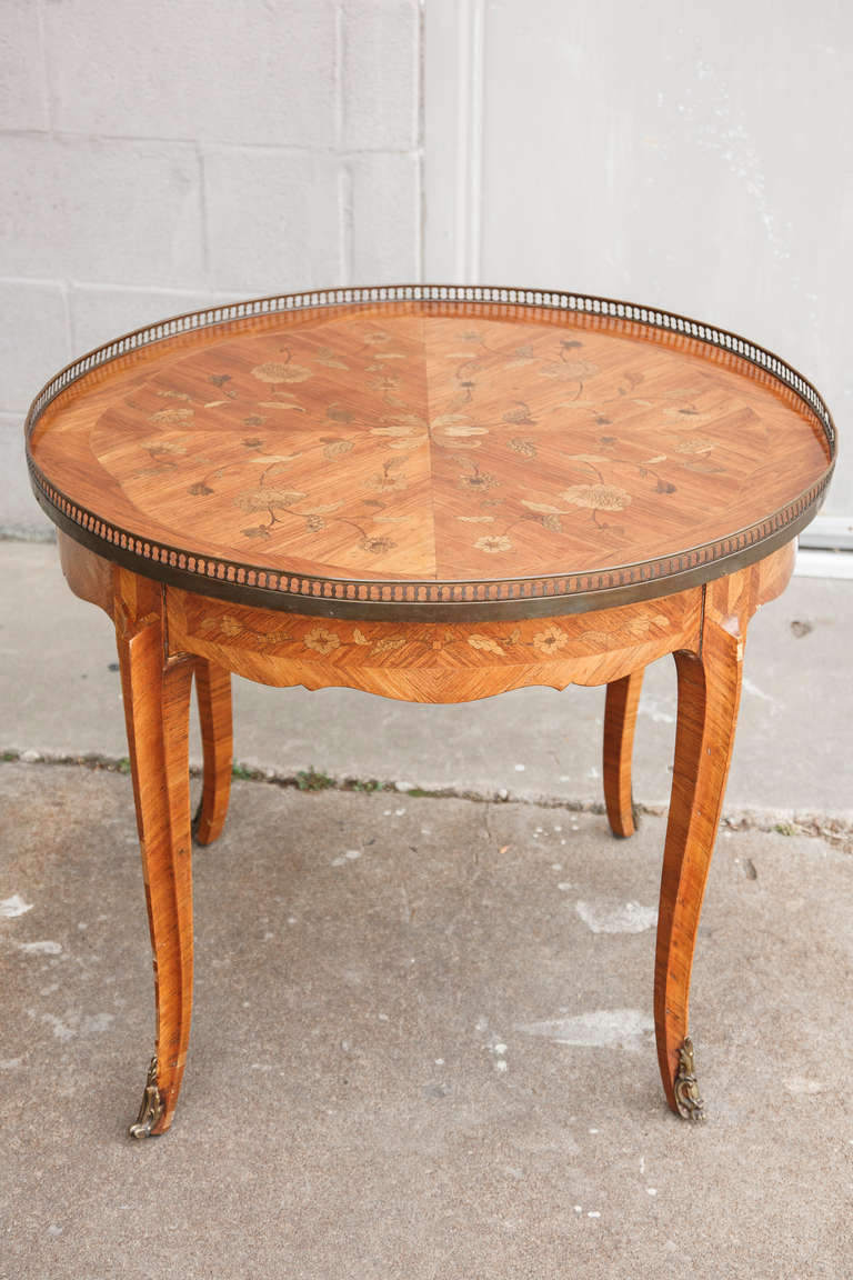 Transitional Round Marquetry Coffee Or Cocktail Table In Floral Motif With Bronze Accents At 1stdibs