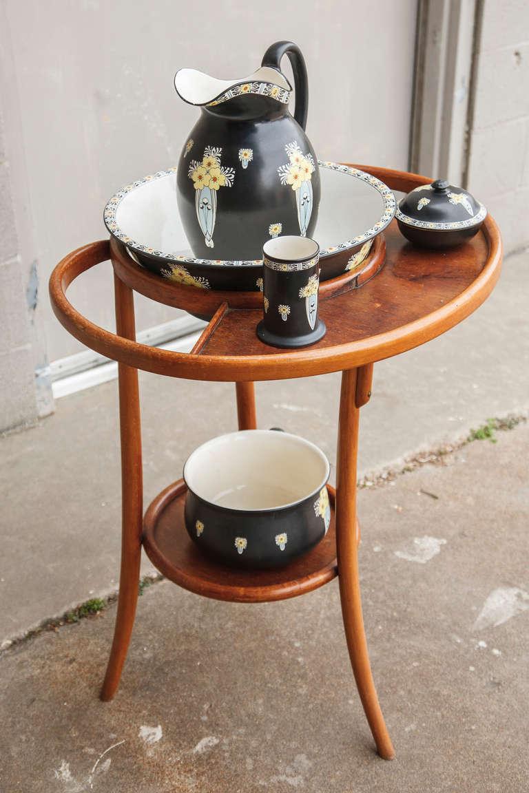 thonet style bentwood table de toilette with five piece. Black Bedroom Furniture Sets. Home Design Ideas