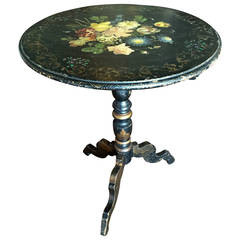 Rare Napoleon III Period Hand-Painted Floral and Ebonized Side Table
