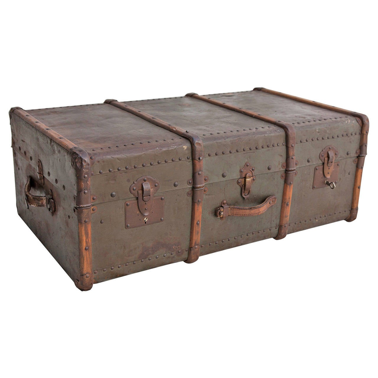 Riveted Metal Traveling Trunk with Wooden Runners 1