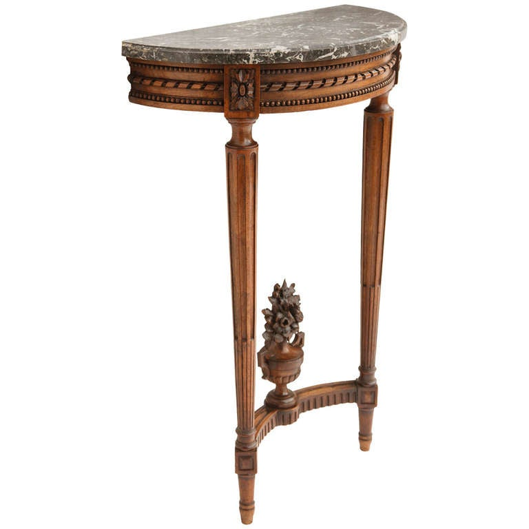 19th Century French Louis XVI Style Carved Walnut Marble Top Demi ...