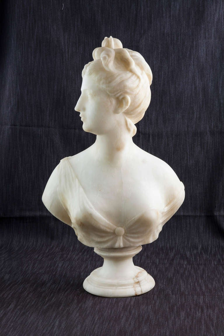 19th Century Solid Marble Bust of Diana, Goddess of the Hunt 2