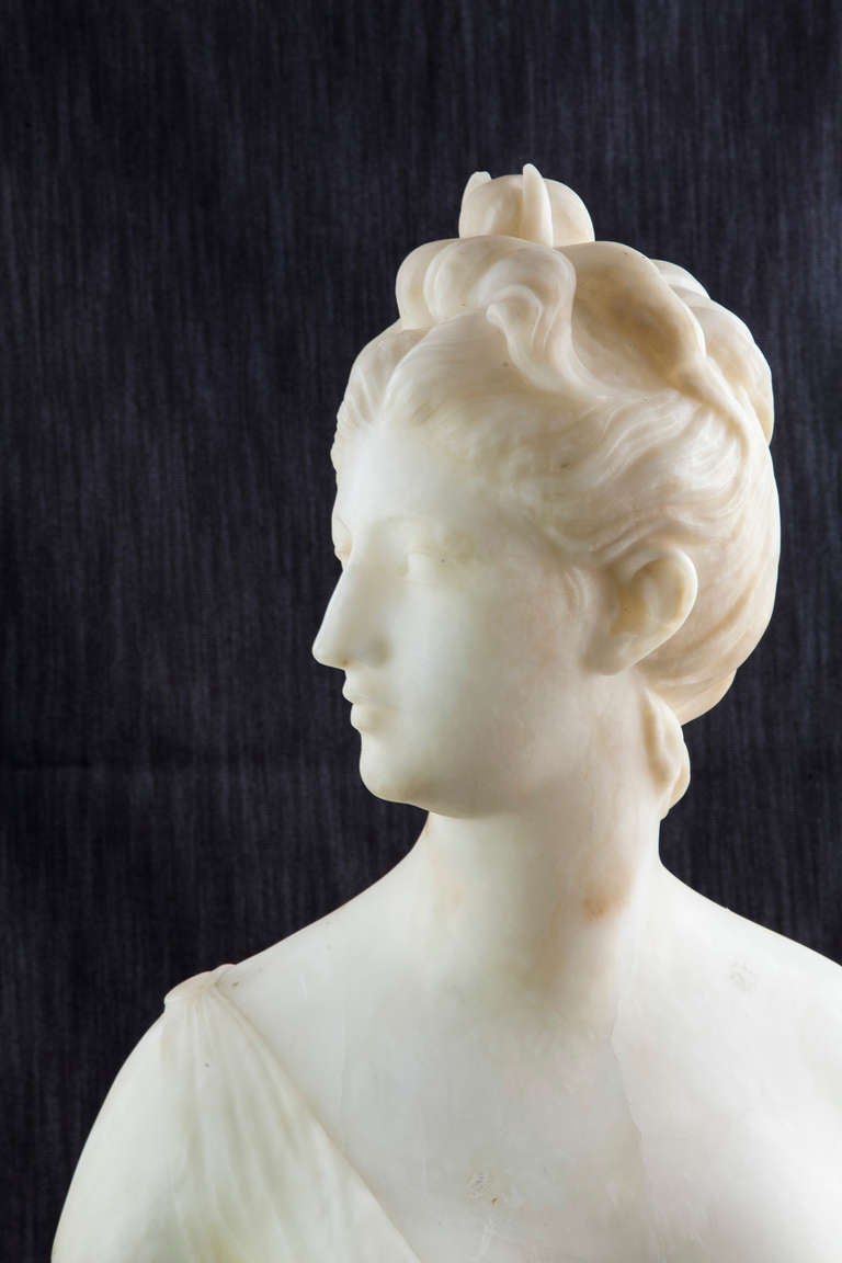19th Century Solid Marble Bust of Diana, Goddess of the Hunt 5