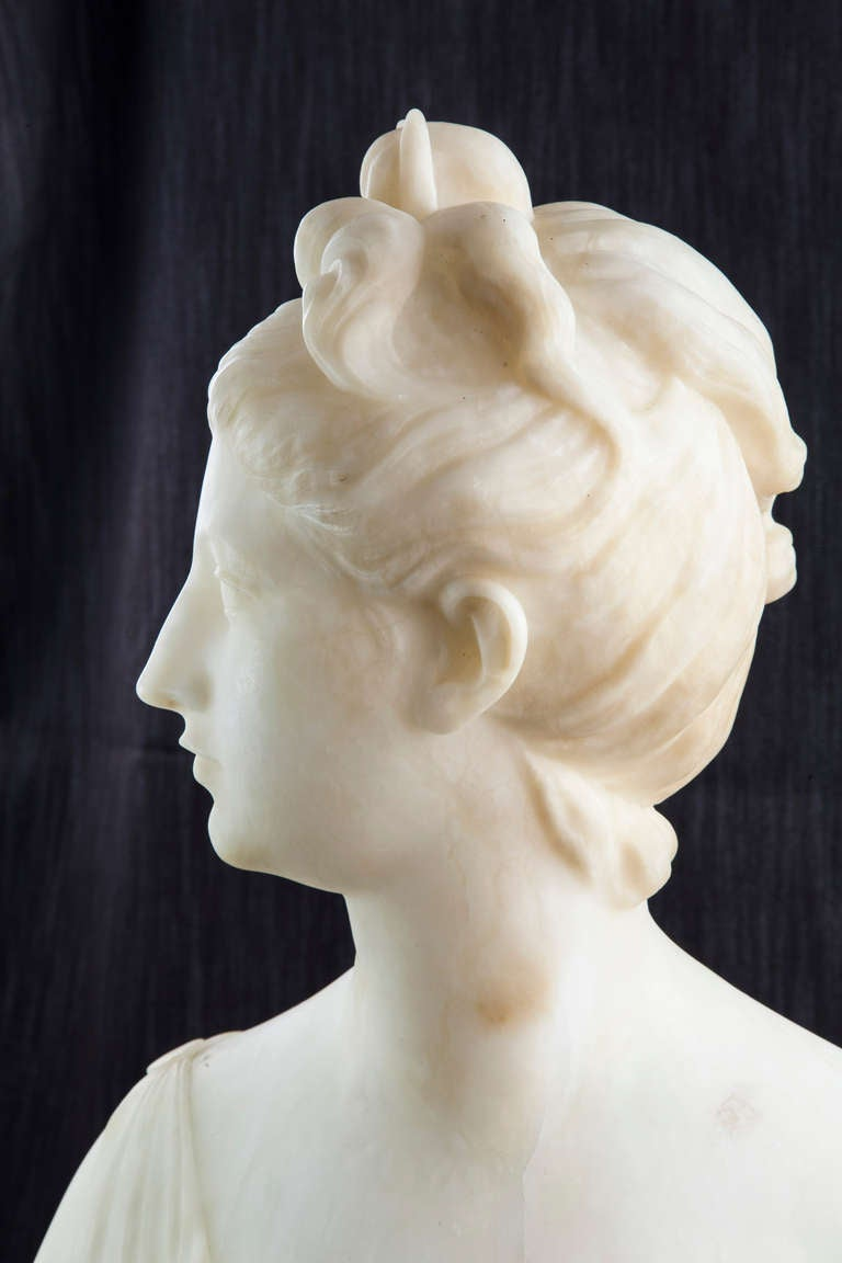 19th Century Solid Marble Bust of Diana, Goddess of the Hunt 6