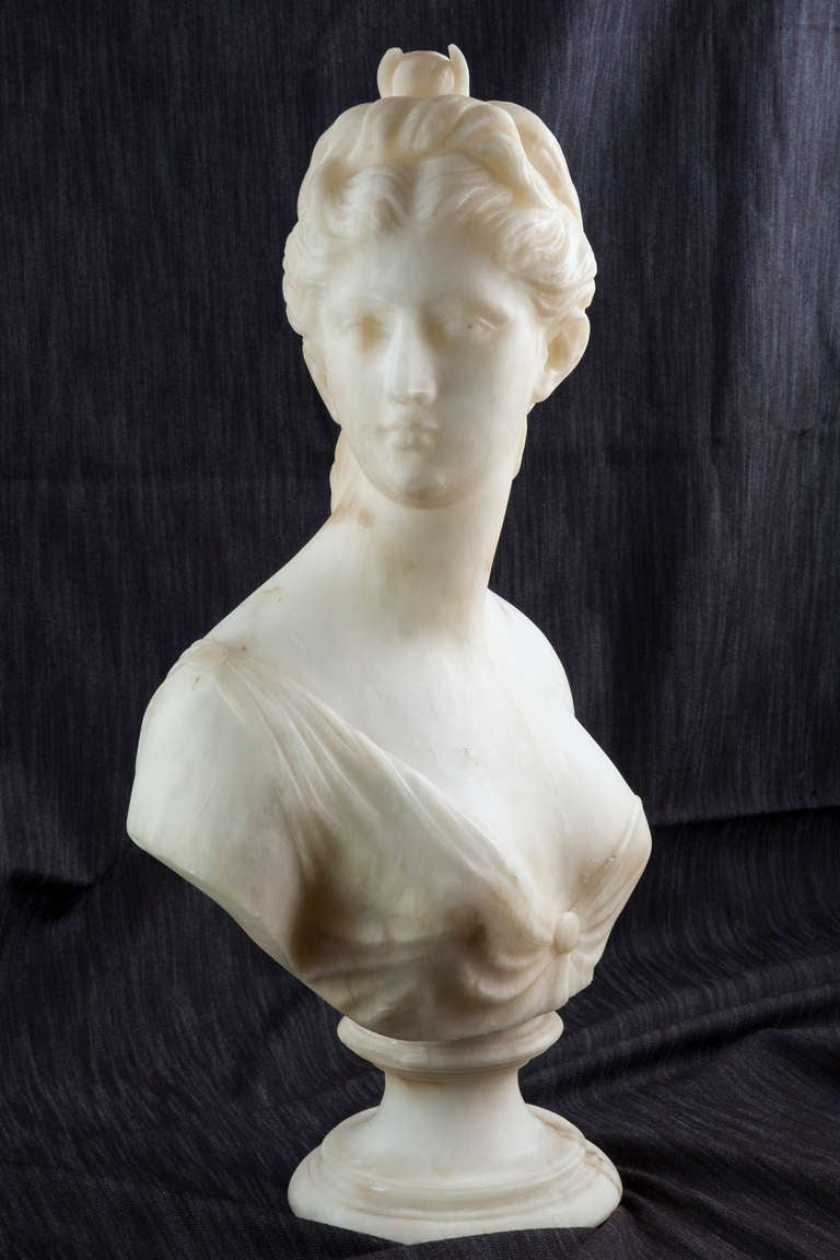 19th Century Solid Marble Bust of Diana, Goddess of the Hunt 7