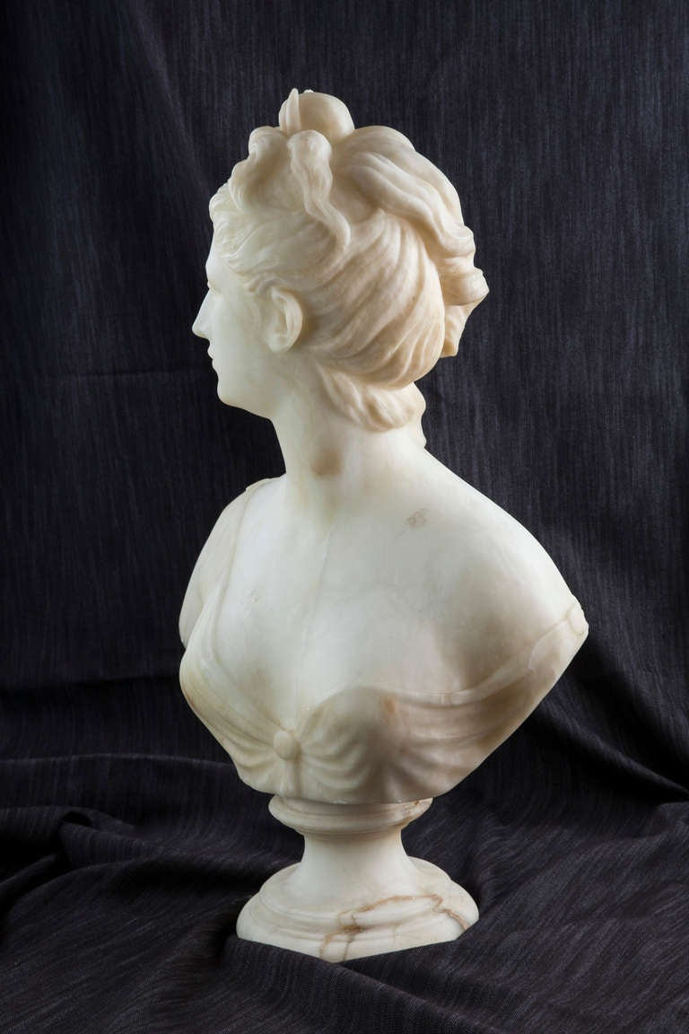 19th Century Solid Marble Bust of Diana, Goddess of the Hunt 8