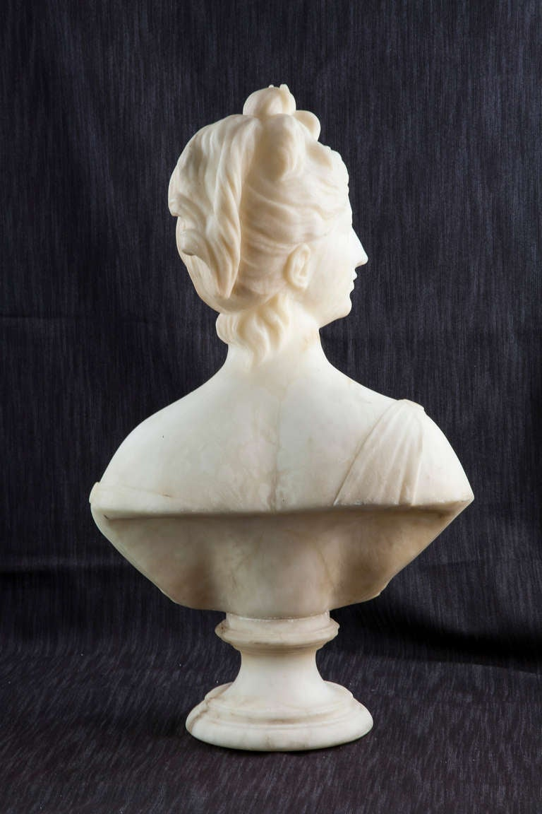 19th Century Solid Marble Bust of Diana, Goddess of the Hunt 3