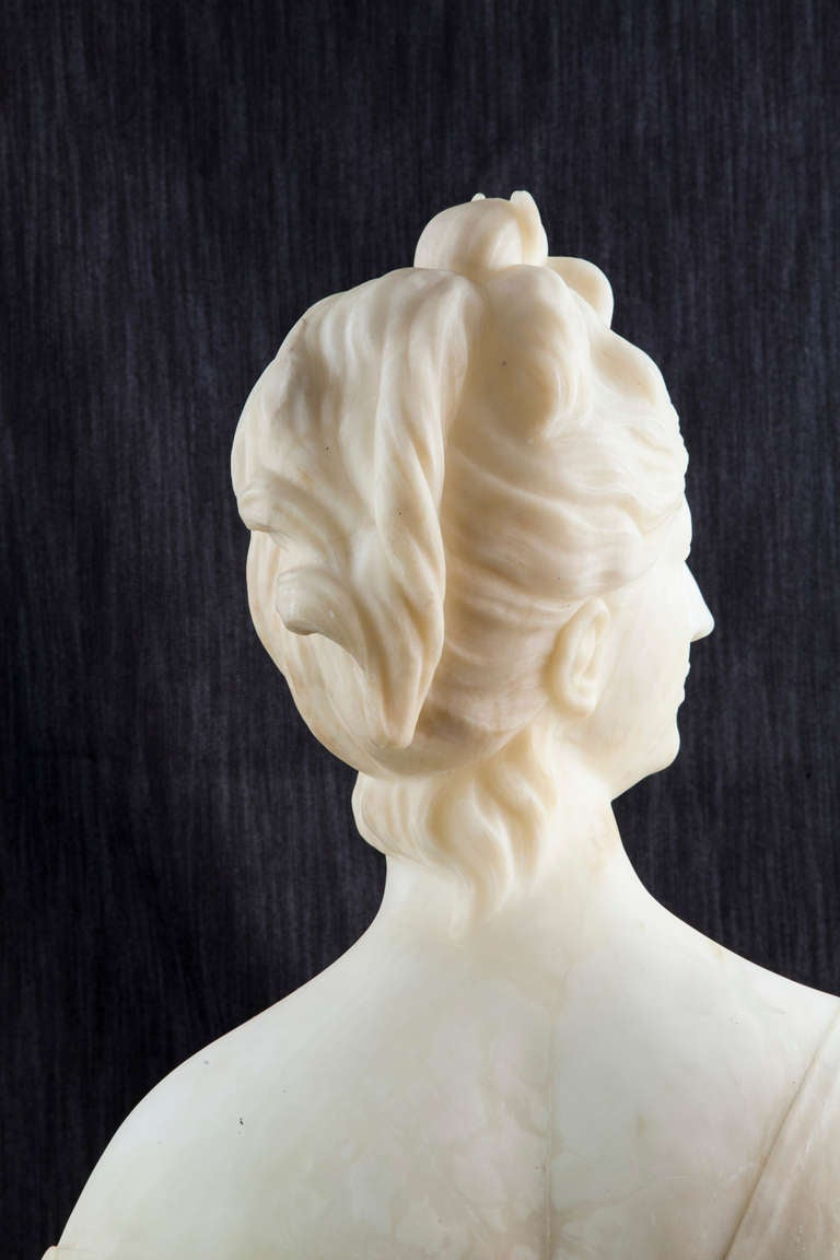 19th Century Solid Marble Bust of Diana, Goddess of the Hunt 4