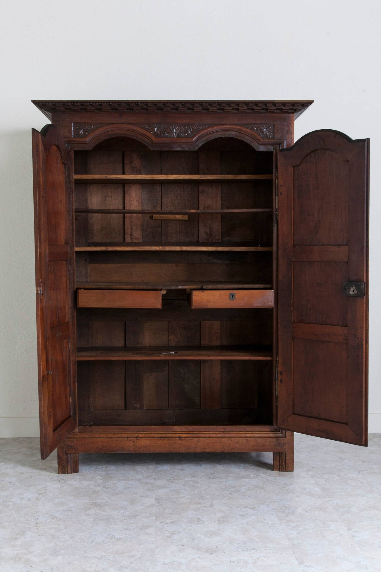 18th century hand carved walnut louis xiv armoire from. Black Bedroom Furniture Sets. Home Design Ideas