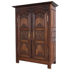 18th Century Hand-Carved Walnut Louis XIV Armoire from Rennes, France