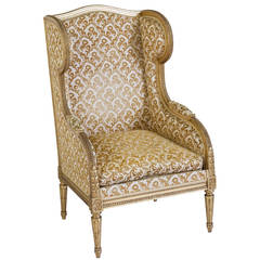 Fine French Louis XVI Wingback Chair with 22-Karat Giltwood Frame
