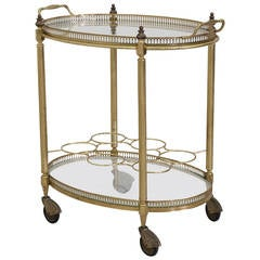 French Oval Polished Brass Bar Cart