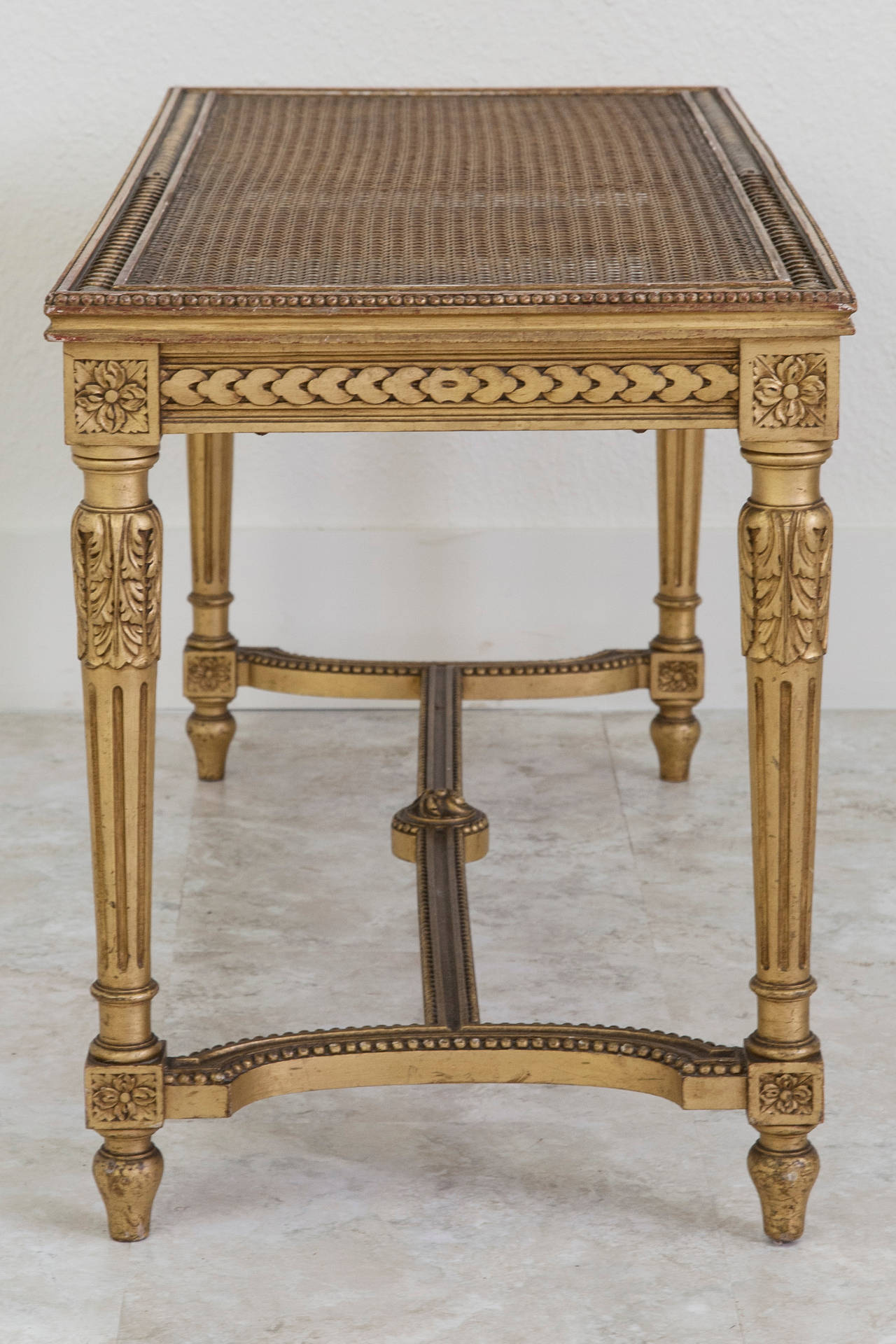 french gold leaf louis xvi style bench banquette piano bench circa